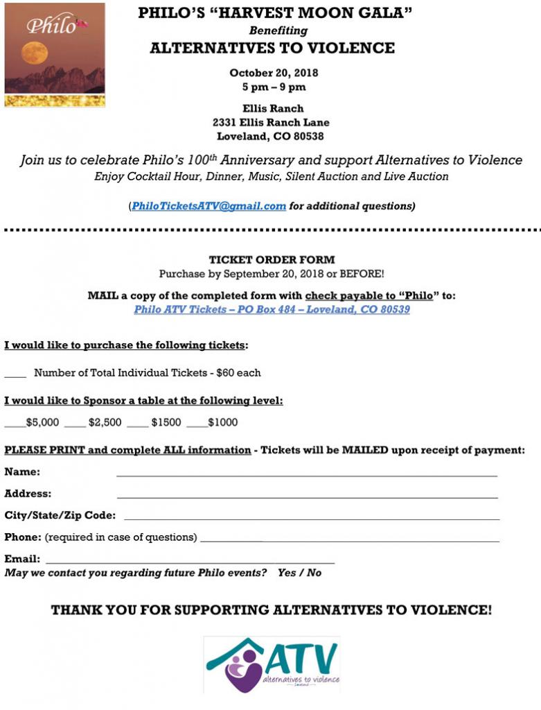 Philo's Harvest Moon Gala, benefiting Alternatives to Violence, October 20, 2018 at Ellis Ranch, Loveland Colorado; buy tickets from Philo.